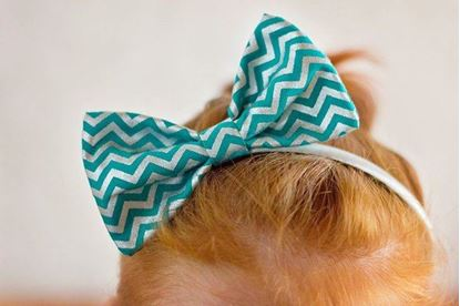 Picture of SunFlower Freckles Bow Tie Teal and Silver Metallic Chevron