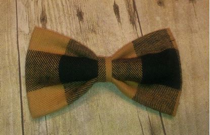 Picture of SunFlower Freckles Bow Tie Yellow Plaid Flannel