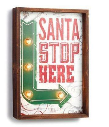 Picture of Demdaco Lit Santa Stop Here Sign