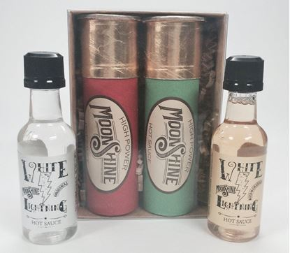 Picture of Fairhope Favorites High Power Moonshine Hot Sauce Shot Gun Shells Pack of Two Original and Bourbon