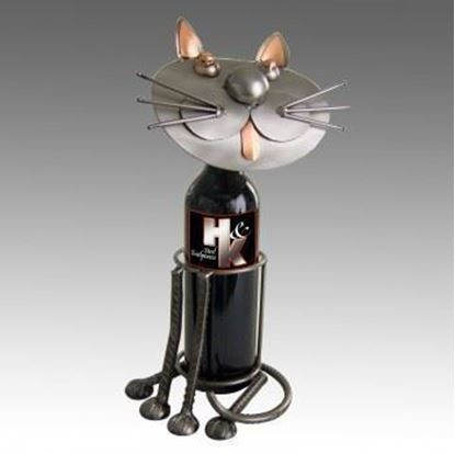 Picture of H & K Sculptures Steel Wine Caddy Cat Sitting