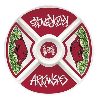 Picture of Magnolia Lane Collegiate Melamine Veggie Tray Arkansas Razorbacks