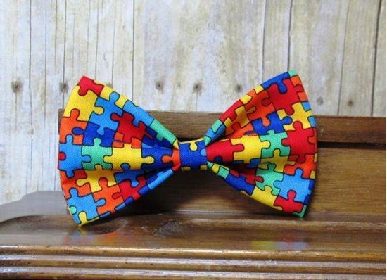 Picture of SunFlower Freckles Bow Tie Autism Awareness Puzzle Pieces